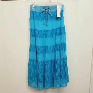 NEW! Bright Blue Skirt w/ Lace & Corset Detail